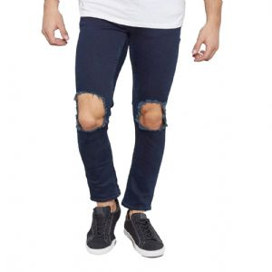 Ex New Look Navy Blue Ripped Open Knee Skinny Jeans Trousers | FD&K